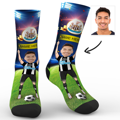 CUSTOM PHOTO SOCKS NEWCASTLE UNITED FC SUPERFANS WITH YOUR TEXT - MyPhotoSocks