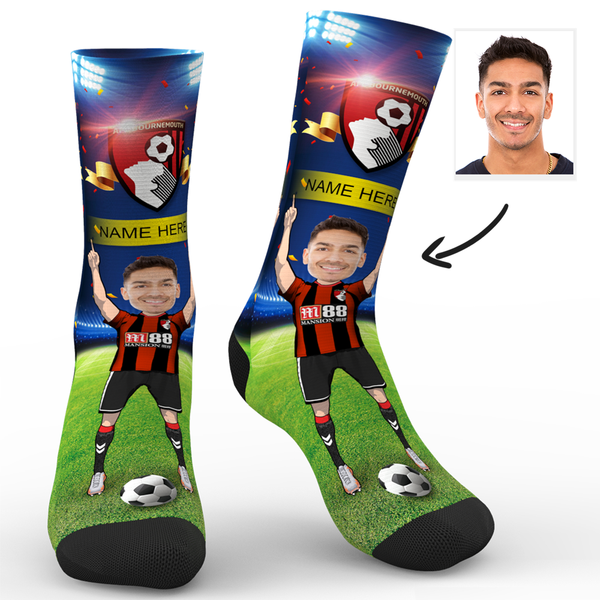 CUSTOM PHOTO SOCKS AFC BOURNEMOUTH SUPERFANS WITH YOUR TEXT - MyPhotoSocks