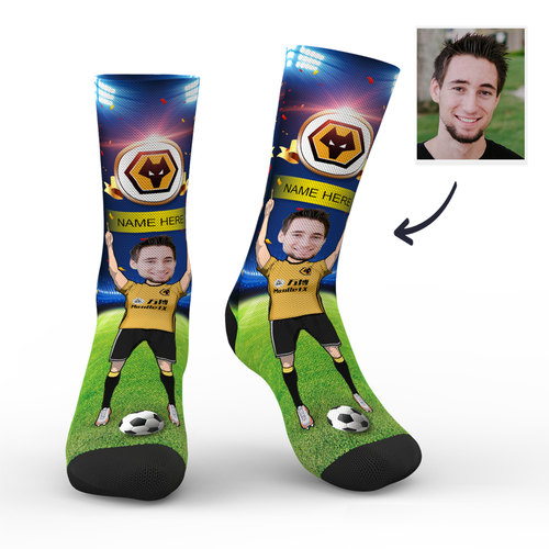 CUSTOM PHOTO SOCKS WOLVES SUPERFANS WITH YOUR TEXT - MyPhotoSocks