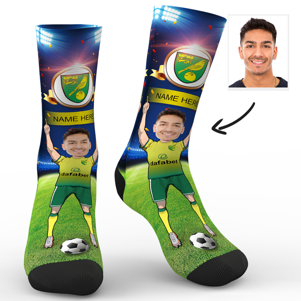 CUSTOM PHOTO SOCKS NORWICH CITY FC SUPERFANS WITH YOUR TEXT - MyPhotoSocks