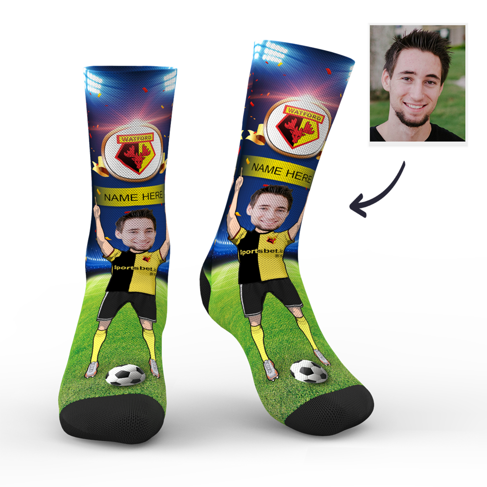 CUSTOM PHOTO SOCKS WATFORD FC BERLIN SUPERFANS WITH YOUR TEXT - MyPhotoSocks