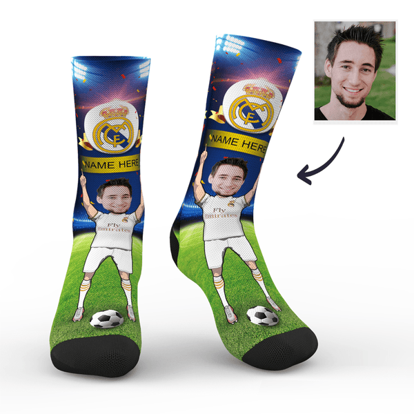 CUSTOM PHOTO SOCKS REAL MADRID C.F. SUPERFANS WITH YOUR TEXT - MyPhotoSocks