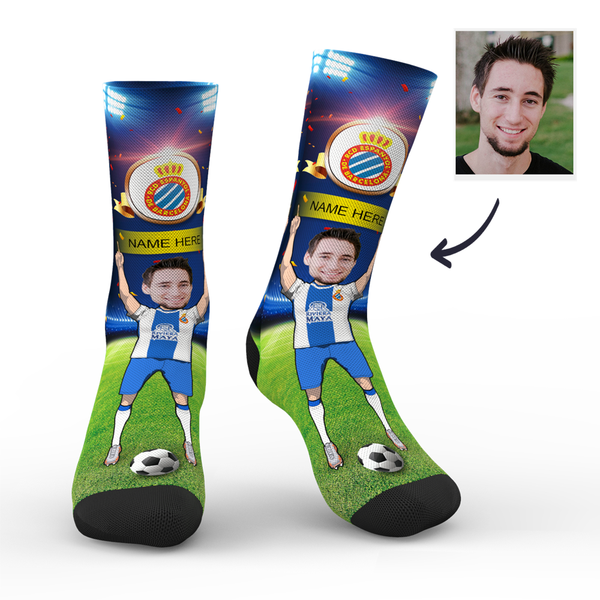CUSTOM PHOTO SOCKS RCD ESPANYOL SUPERFANS WITH YOUR TEXT - MyPhotoSocks