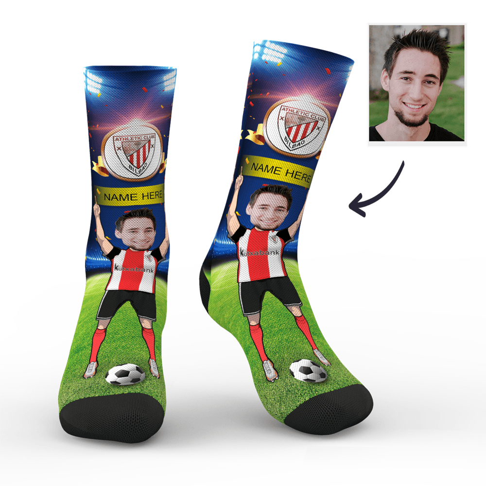 CUSTOM PHOTO SOCKS ATHLETIC BILBAO SUPERFANS WITH YOUR TEXT - MyPhotoSocks