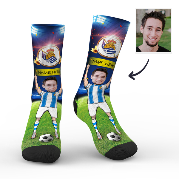 CUSTOM PHOTO SOCKS REAL SOCIEDAD SUPERFANS WITH YOUR TEXT - MyPhotoSocks