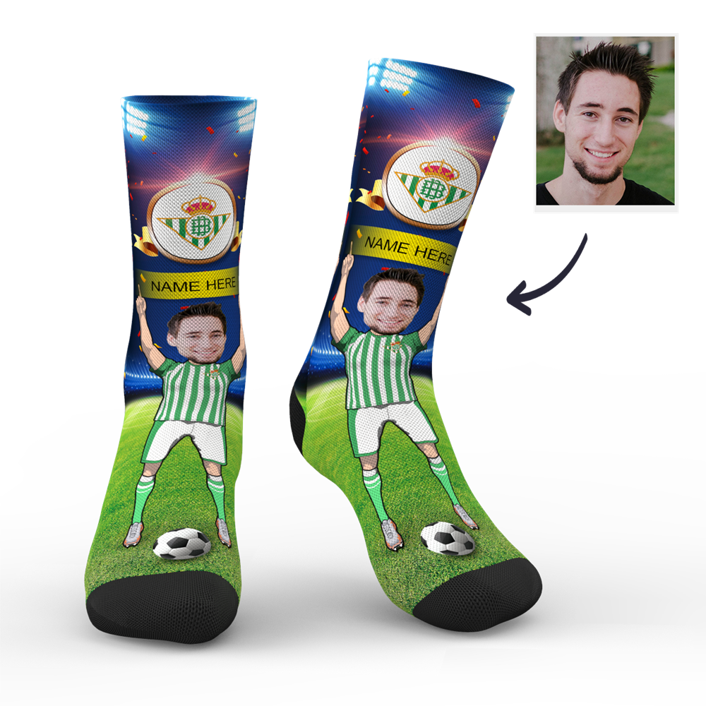 CUSTOM PHOTO SOCKS REAL BETIS SUPERFANS WITH YOUR TEXT - MyPhotoSocks