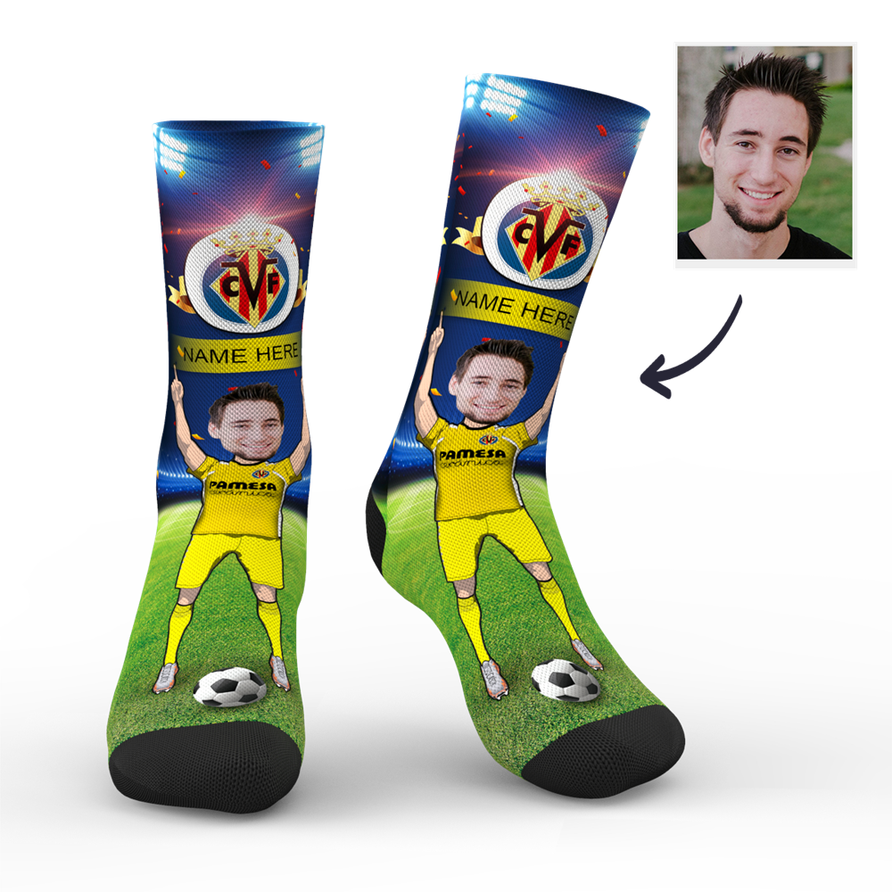 CUSTOM PHOTO SOCKS VILLARREAL CF SUPERFANS WITH YOUR TEXT - MyPhotoSocks