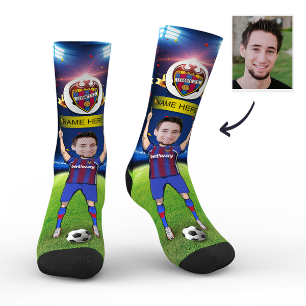 CUSTOM PHOTO SOCKS LEVANTE UD SUPERFANS WITH YOUR TEXT - MyPhotoSocks