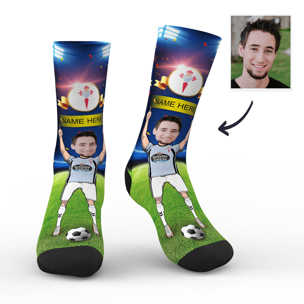 CUSTOM PHOTO SOCKS CELTA DE VIGO SUPERFANS WITH YOUR TEXT - MyPhotoSocks