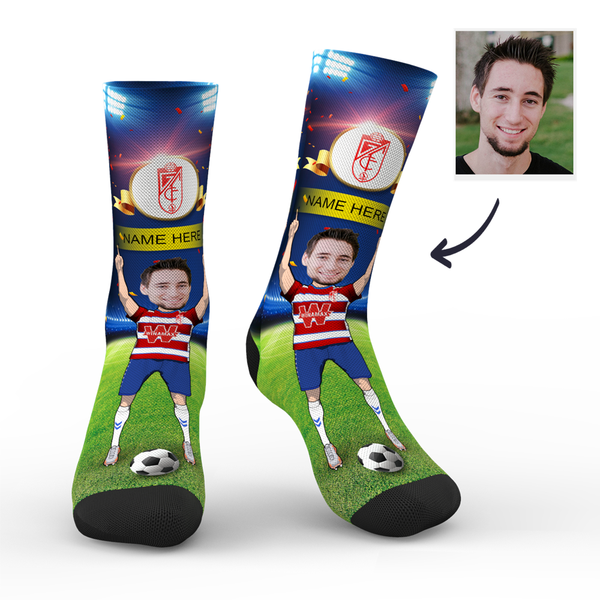 CUSTOM PHOTO SOCKS GRANADA CF SUPERFANS WITH YOUR TEXT - MyPhotoSocks