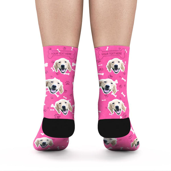 Custom Rainbow Socks Dog With Your Text - Red - MyPhotoSocks