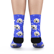 Custom Rainbow Socks Dog With Your Text - Blue - MyPhotoSocks