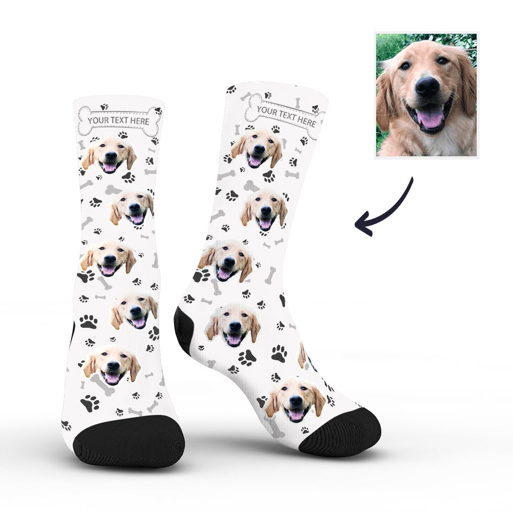 Custom Rainbow Socks Dog With Your Text - White - MyPhotoSocks