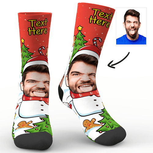 Custom Photo Socks Christmas Snowman Socks With Your Text - MyPhotoSocks