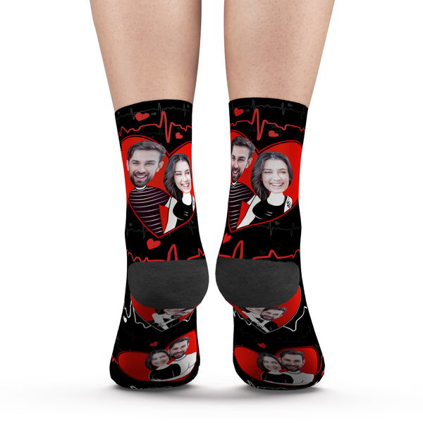 Custom Photo Socks Heart Couples - MyPhotoSocks