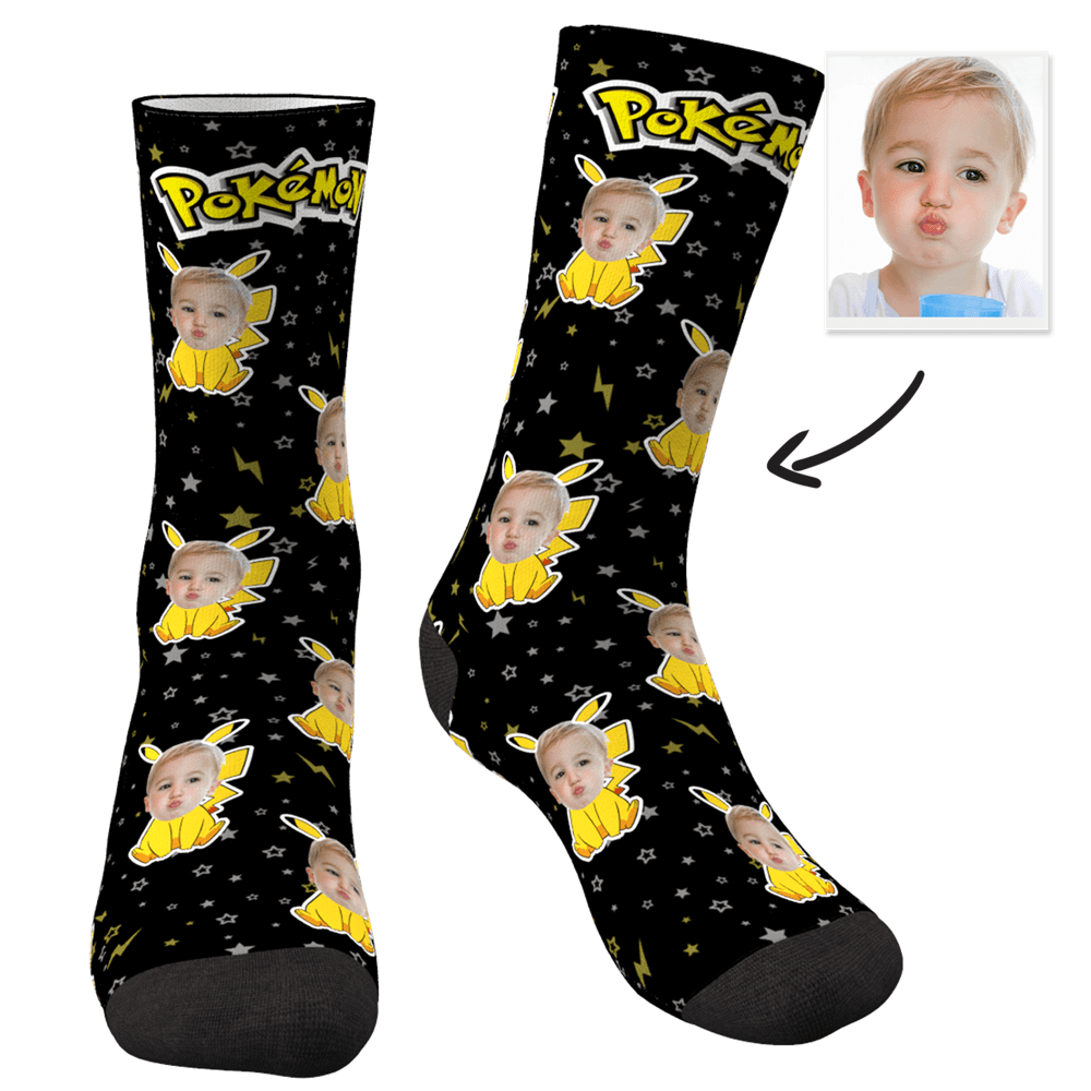 Custom Photo Socks Pokemon Pikachu - MyPhotoSocks