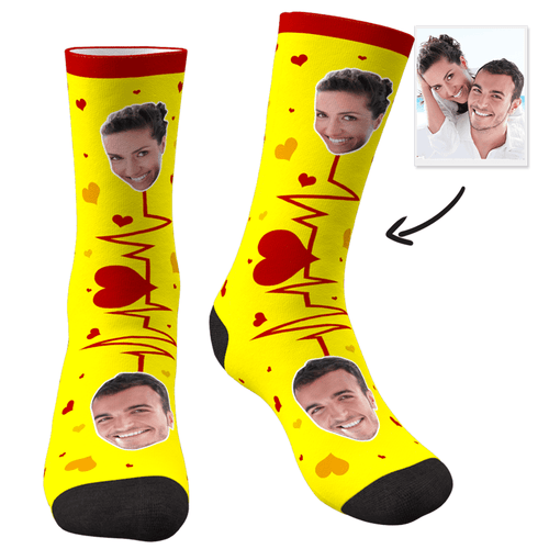 Custom Photo Socks Couple Cardiogram - MyPhotoSocks