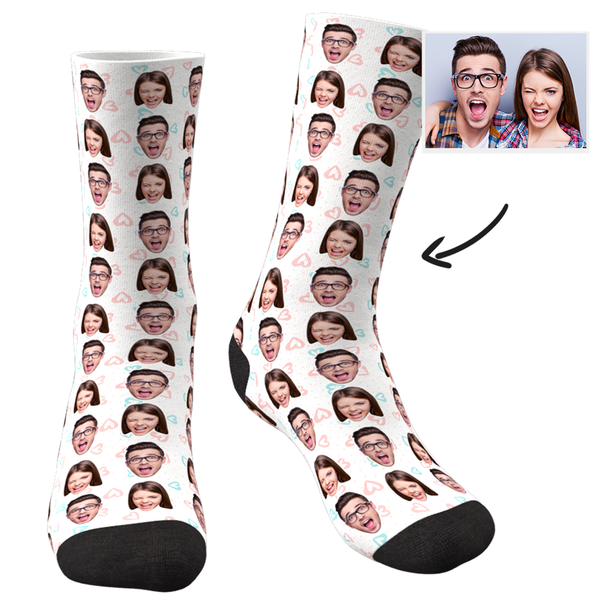 Custom Photo Socks Colorful - Two Faces - MyPhotoSocks