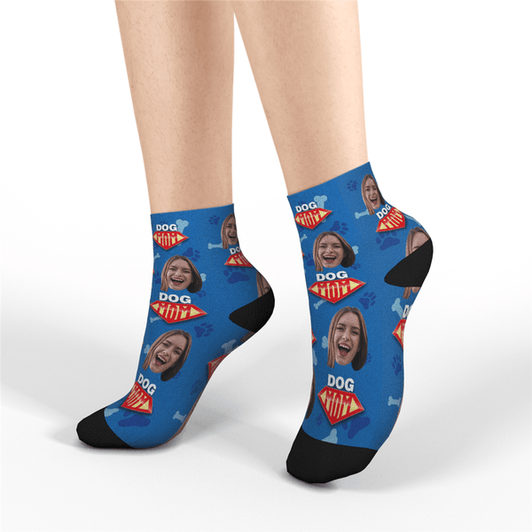 Custom Quarter Socks - Dog Mom - MyPhotoSocks