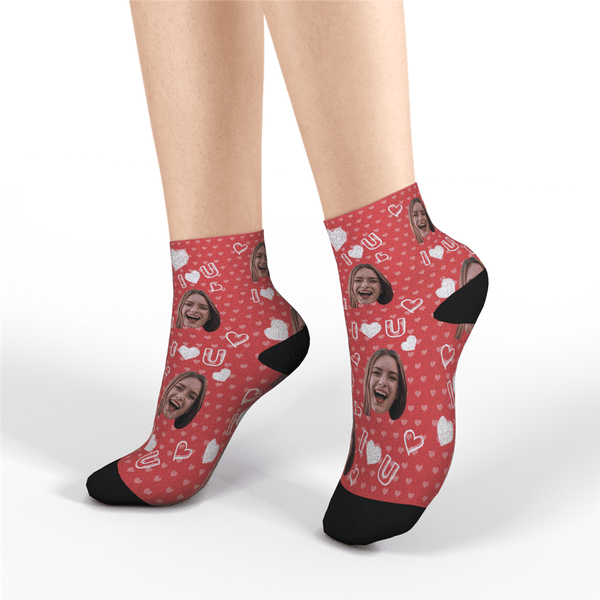 Custom Quarter Socks - I Love You - MyPhotoSocks