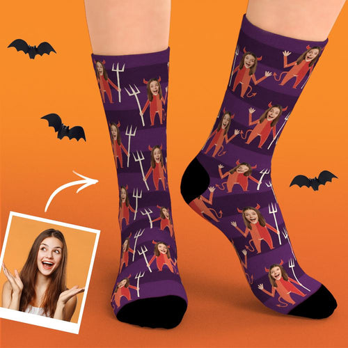 Custom Face Socks Personalized Halloween Demon Photo Socks