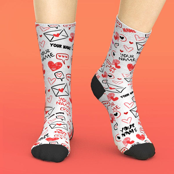 Custom Text Socks Love And Message