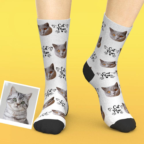 Custom Photo Socks With Photo Personalized Novelty Socks Cat Mom