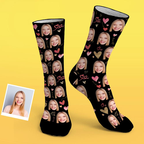 Custom Photo Socks Romantic Heart Pattern