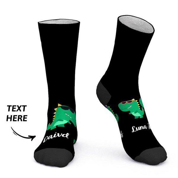 Custom Socks Add Name Socks Cartoon Dinosaurs Two Kids Father Gift