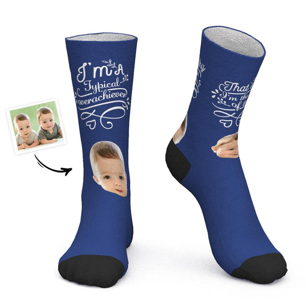 Custom Face Socks Add Picture Gift for Father of Twins