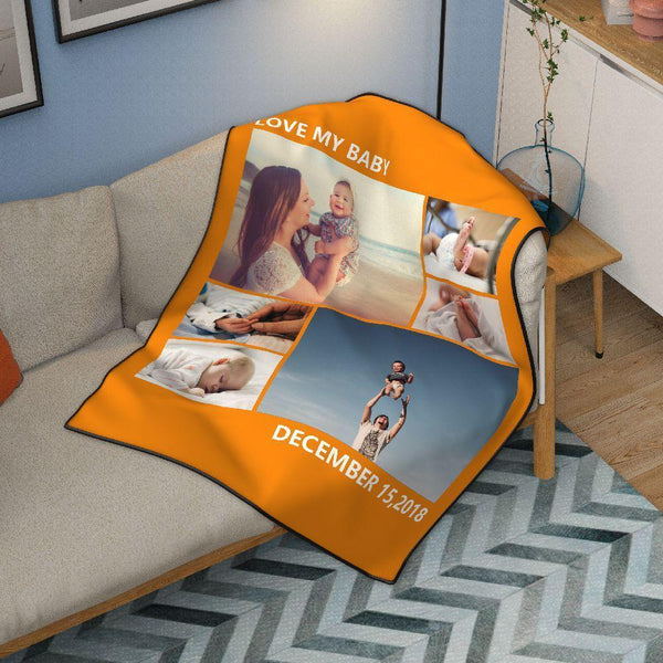 Personalized Lovely Pets with 6 Photos Fleece Custom Blanket - MyPhotoSocks