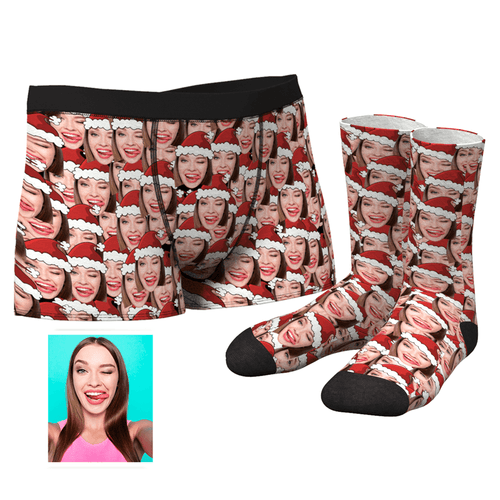 Custom Christmas Hat Face Mash Boxer Shorts And Socks Set - MyPhotoSocks