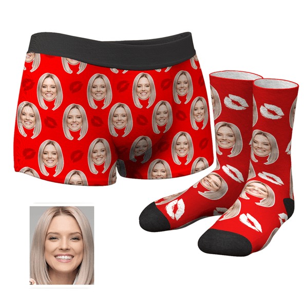 Custom Kiss Boxer Shorts And Socks Set - MyPhotoSocks