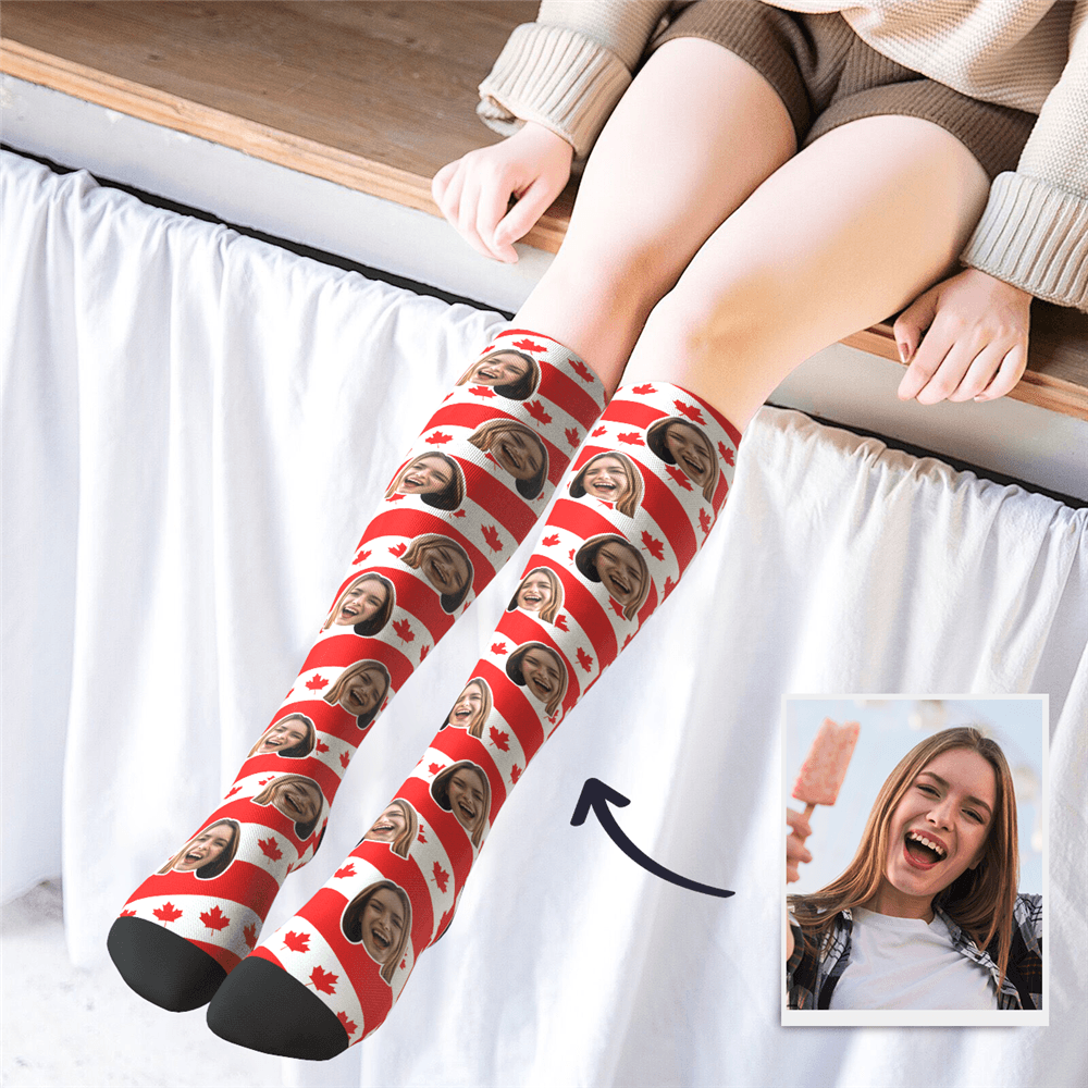 Custom Photo Knee High CAN Flag Socks - MyPhotoSocks