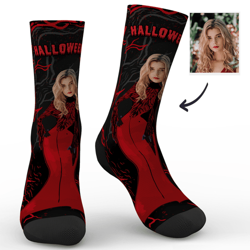 Custom Halloween Vampire Miss Photo Socks - MyPhotoSocks