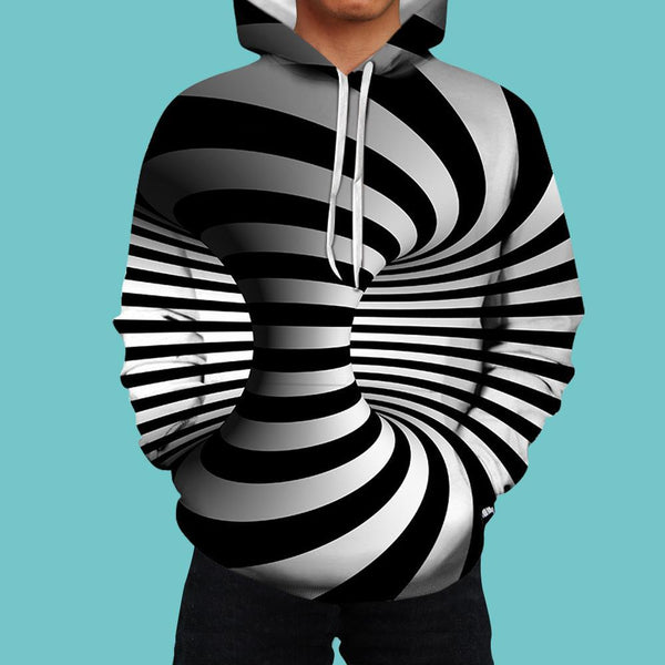 Men's Pullover Hoodie 3D Graphic Optical Illusion Long Sleeve Black