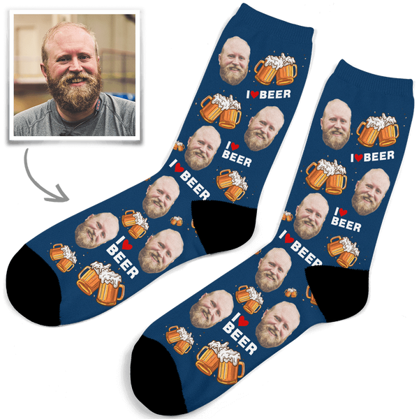 Custom Photo Socks I Love Beer - MyPhotoSocks