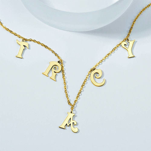 Custom Personalized Name Necklace Initial Letter Necklace