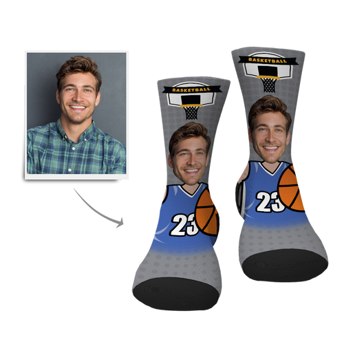 Custom Basketball Player Face Socks - MyPhotoSocks