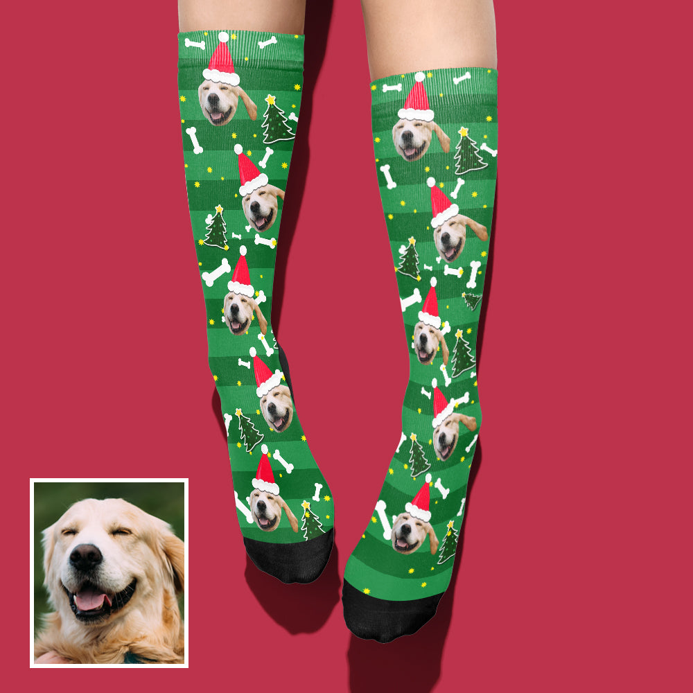 Custom Photo Christmas Dog Socks