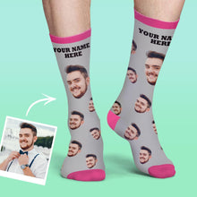 Custom Face Socks Colorful Candy Series - Grey