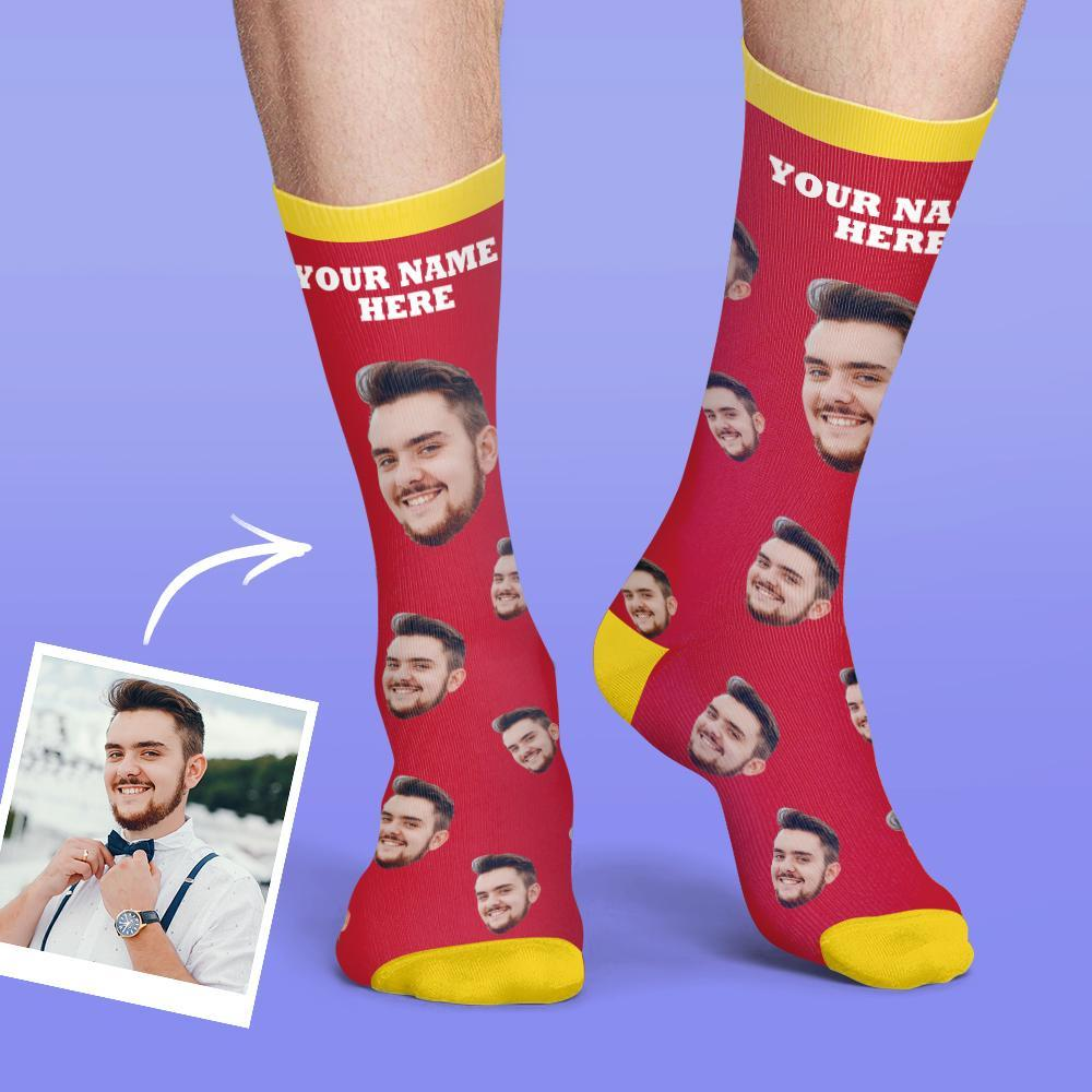 Custom Face Socks Colorful Candy Series - Red