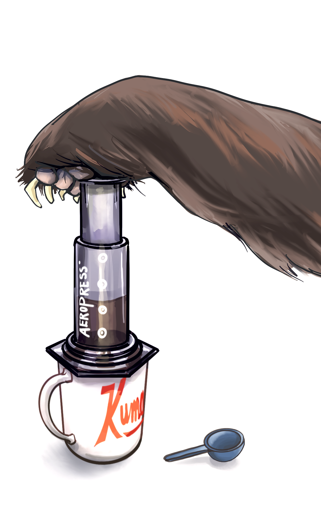 Hand drawn illustration of a bear paw pushing the plunger of an aeropress to brew coffee into a Kuma Coffee red bear coffee mug