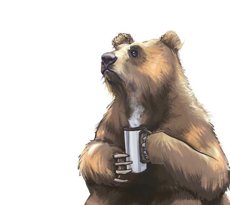 Hand drawn illustration of a brown bear holding a steaming cup of coffee with a pondering look