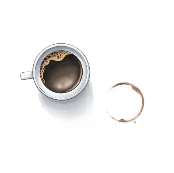 Hand drawn illustration of mug full of coffee next to coffee ring left by the mug