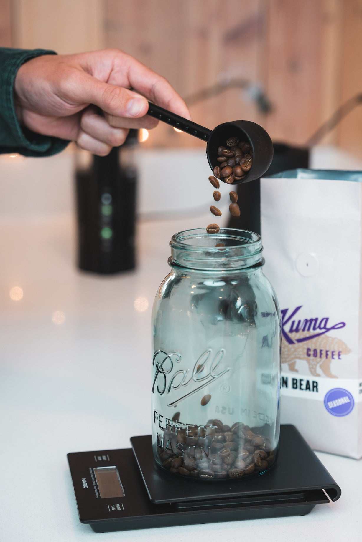 Weighing and scooping Sun Bear Blend roasted by Kuma Coffee into a mason jar to make cold brew