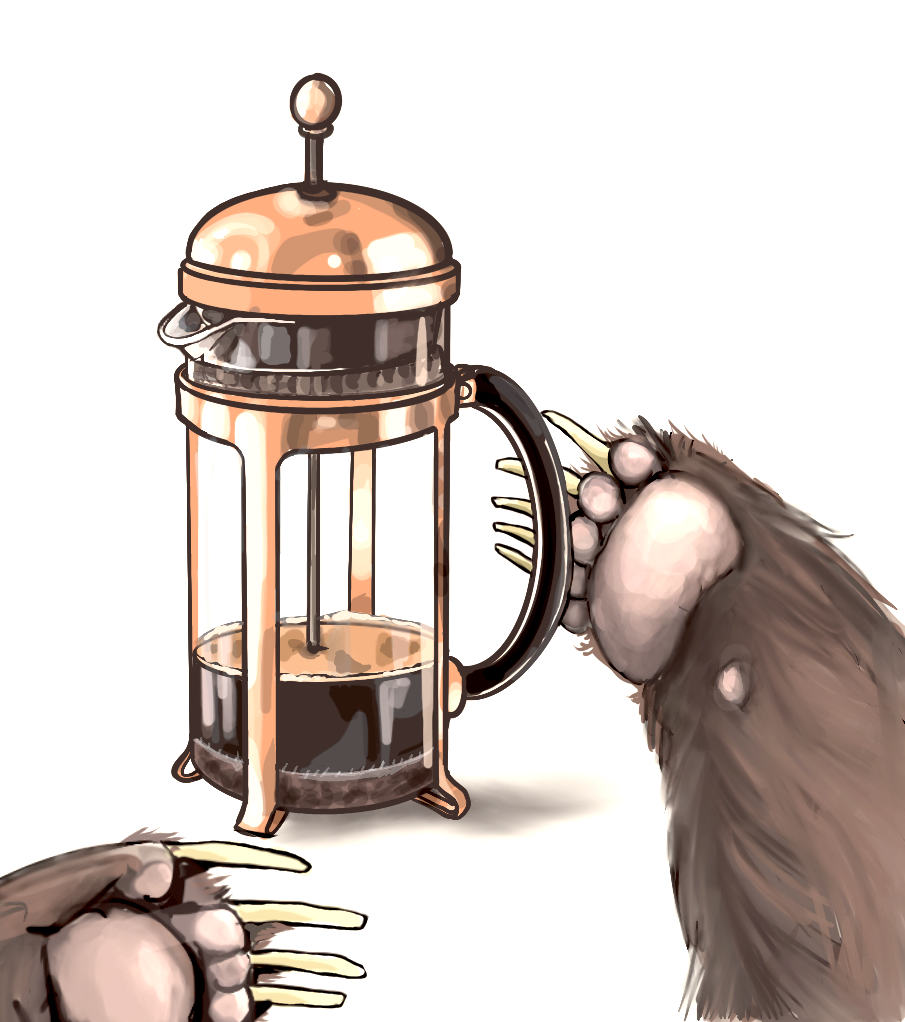 Hand drawn illustration of a bear paw reaching for coffee brewed in a french press