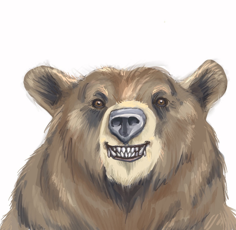 Hand drawn illustration of brown bear head with a friendly smile