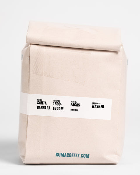 12oz retail bag of Gerardo Trejo washed coffee from Santa Barbara, Honduras, grown between 1500 and 1600 meters, washed processed coffee with the Pacas varietal, roasted by Kuma Coffee in Seattle, WA
