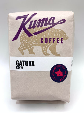 Kuma Coffee in purple text on 12oz retail bag containing Gatuya, fresh crop washed coffee from Kenya